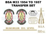 BSA M33 500cc 1954 to 1957 Transfer Decal Set
